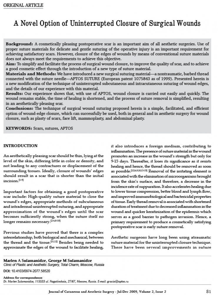 Journal of Cutaneous and Aesthetic Surgery - Jul-Dec 2009, Volume 2, Issue 2
